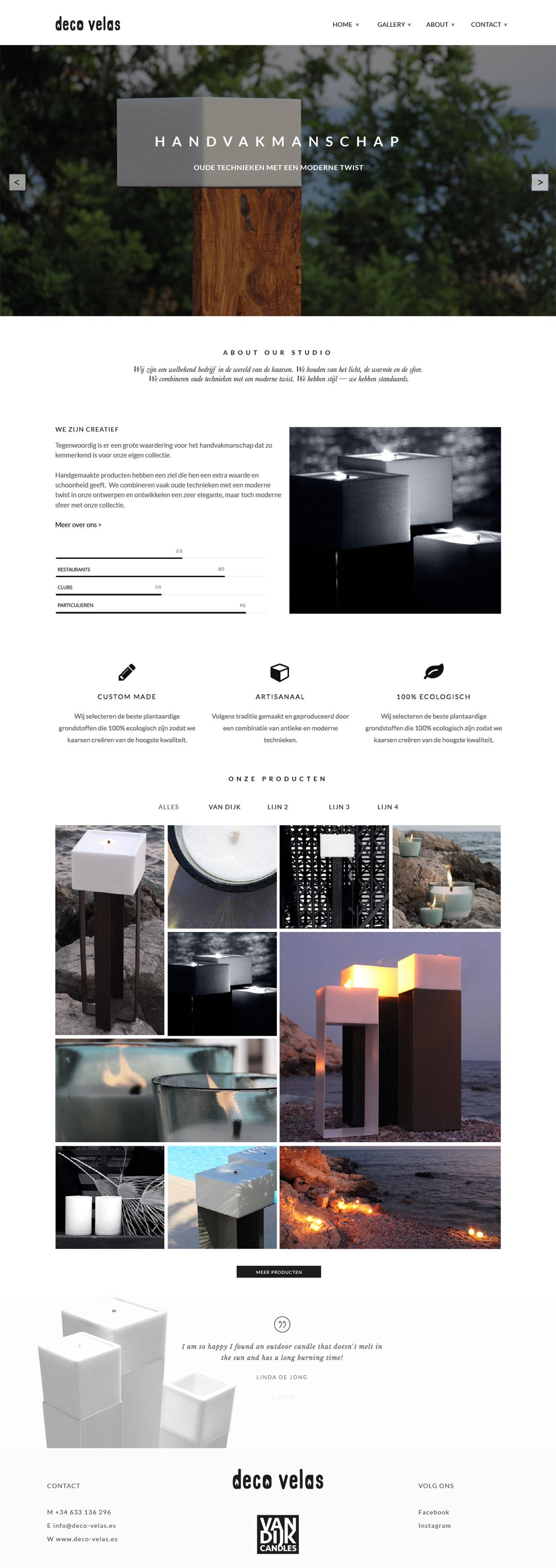 Deco Velas & Van Dijk -Webshop & Corporate Identity by Bottle Post Media