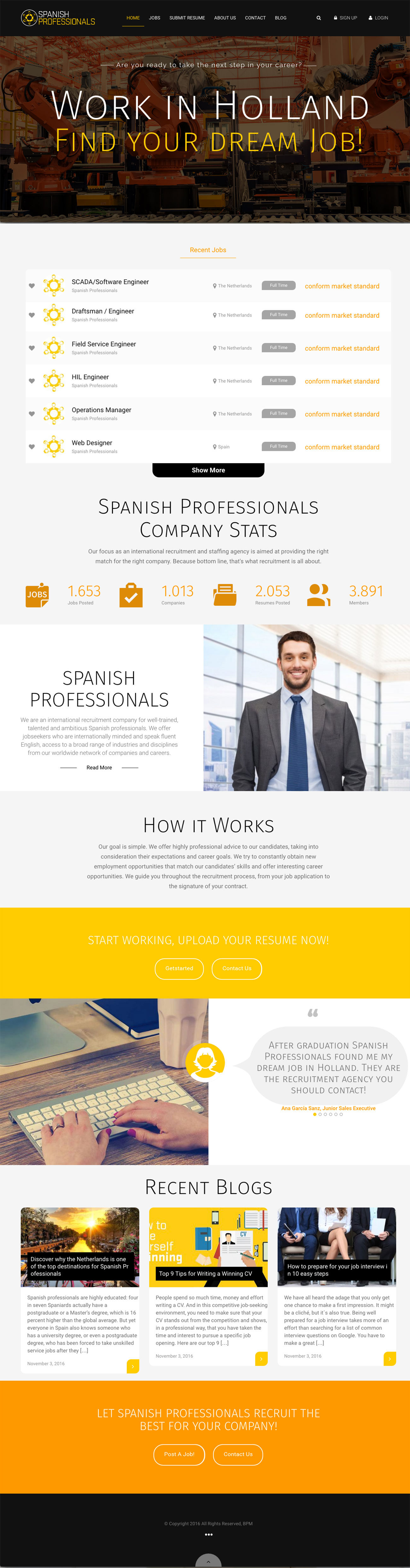 Spanish Professionals – Website & Printmedia by Bottle Post Media