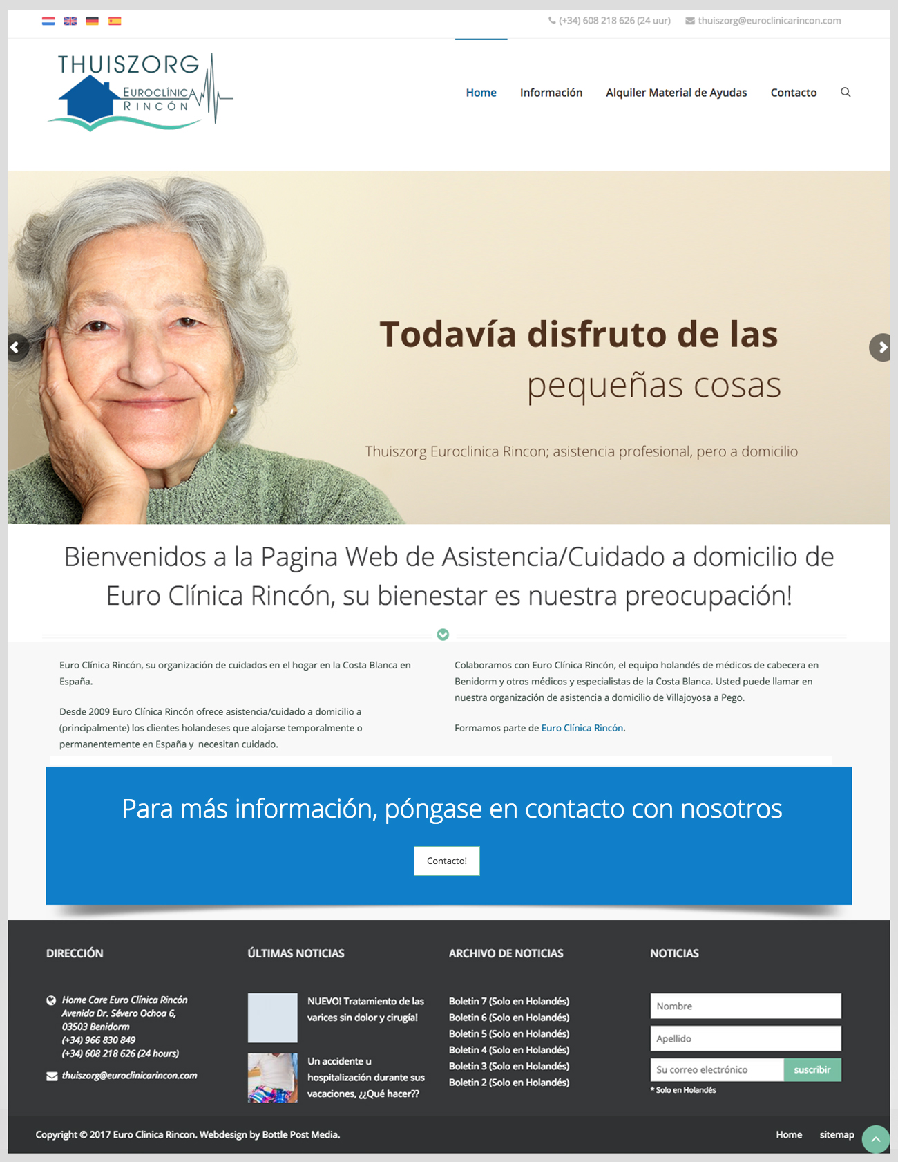 Thuiszorg Euroclínica Rincón Spaanse website laten maken Costa Blanca