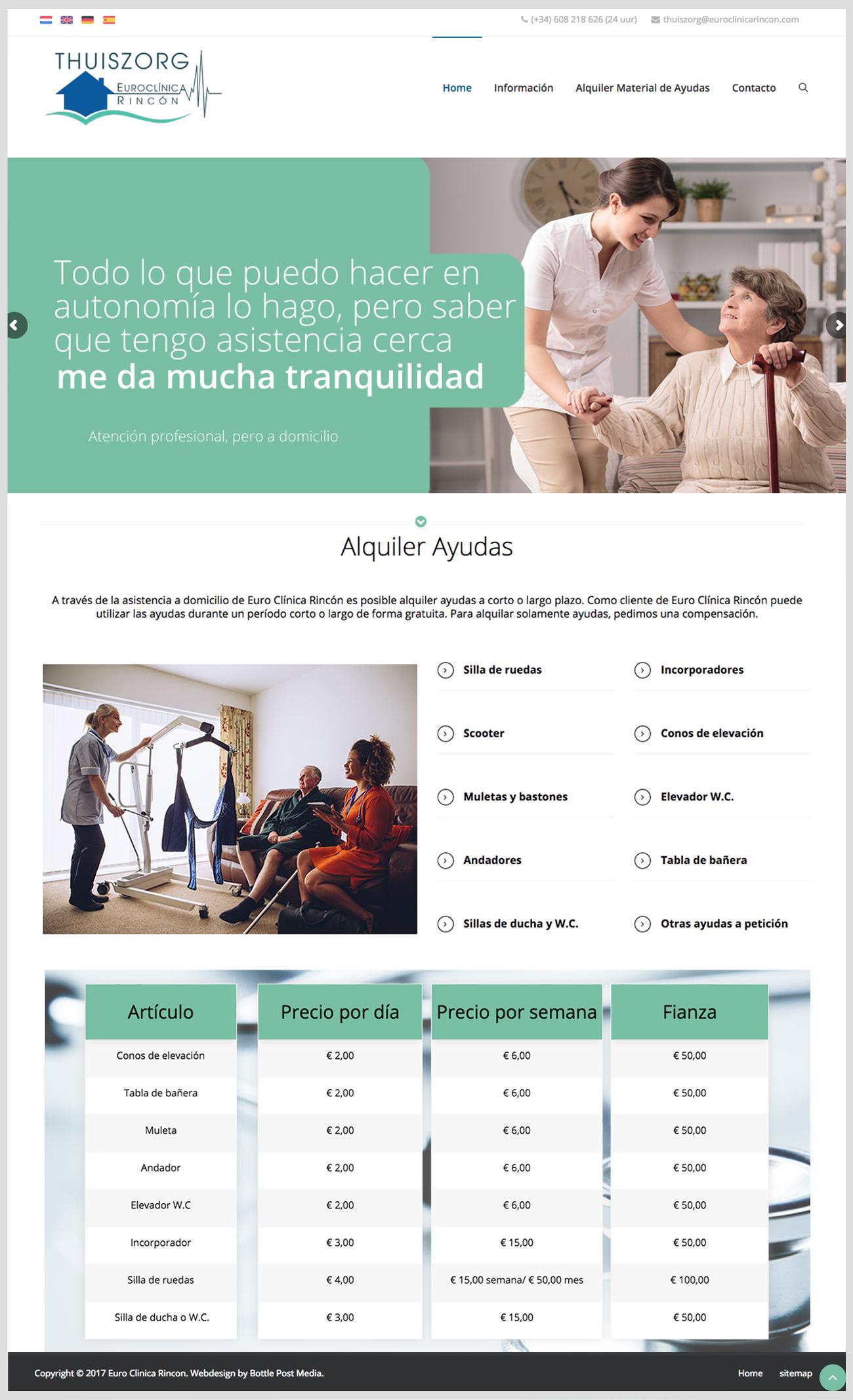 producten en diensten overzicht Thuiszorg Euroclínica Rincón Spaanse website laten maken Costa Blanca