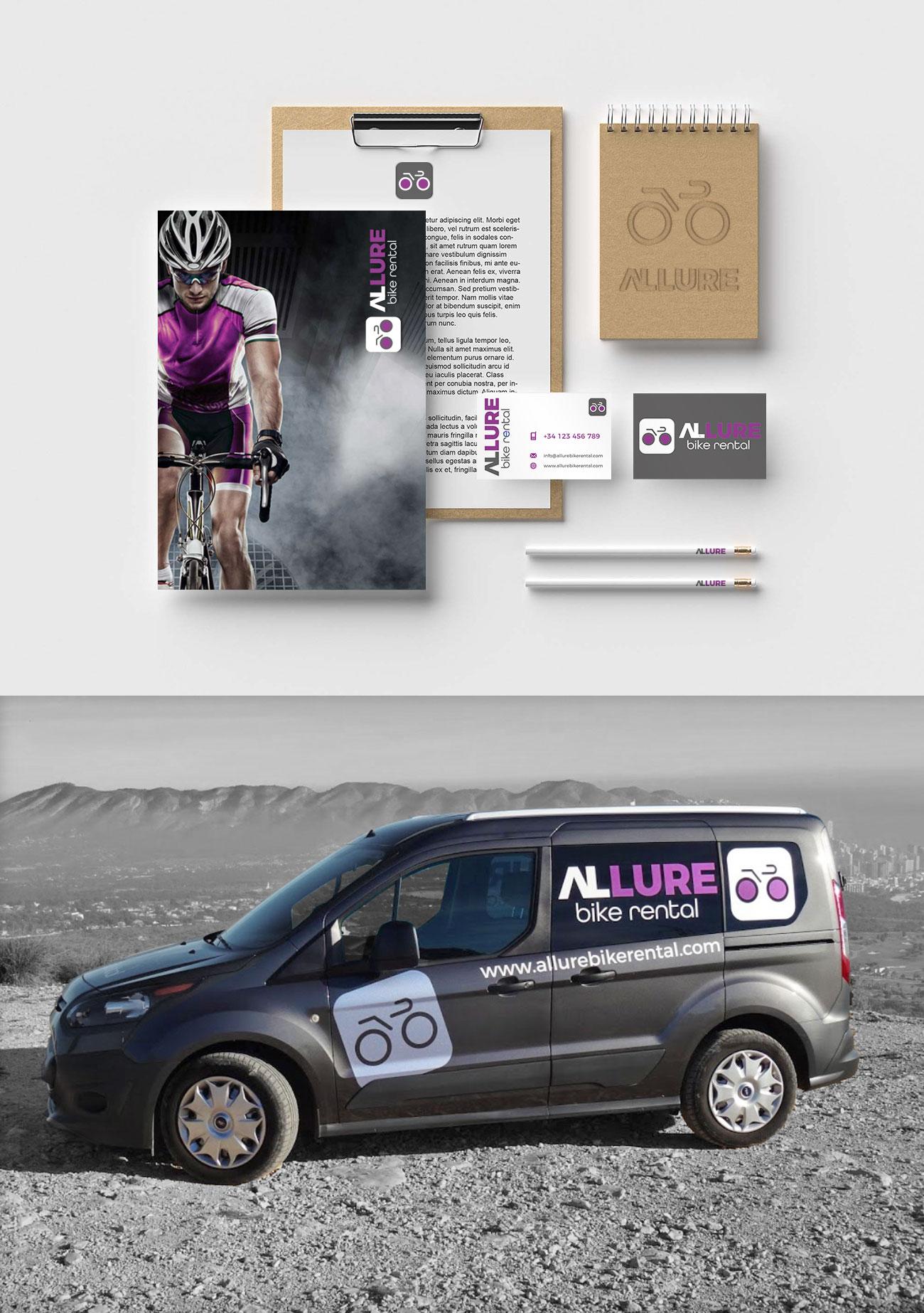 Allure Bike Rental Autobelettering Logo en huisstijlontwerp Allure website design bedrijf costa blanca