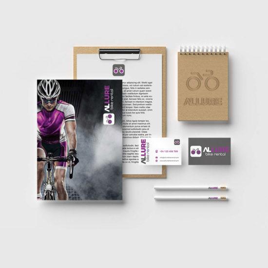 Allure Bike Rental Autobelettering Logo en huisstijlontwerp website design bedrijf costa blanca