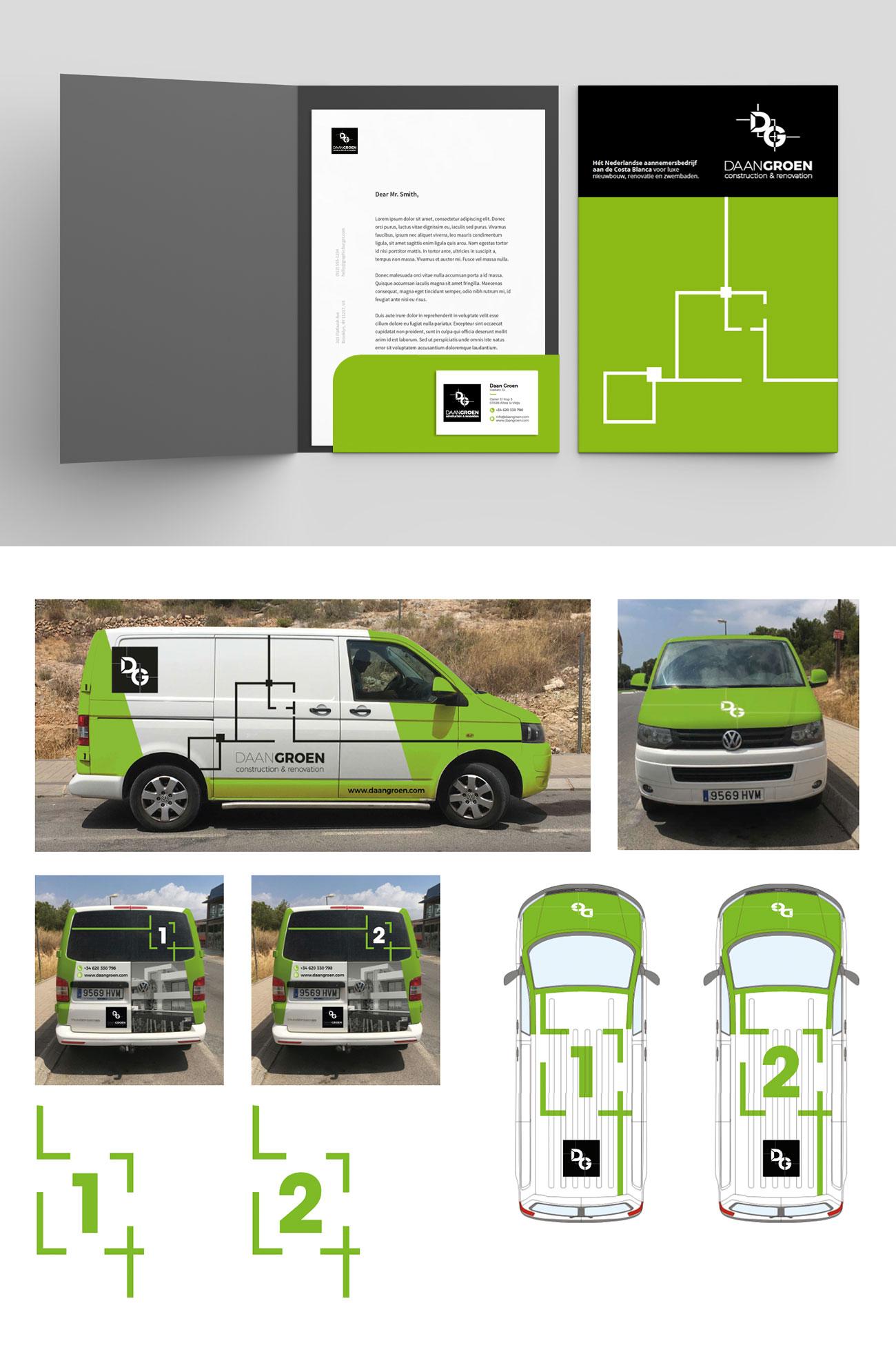 Brochure en Auto belettering ontwerp Daan Groen door Bottle Post Media Costa Blanca