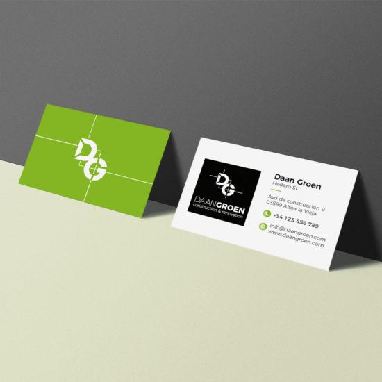 Daan Groen logo en visitekaartje ontwerp door Bottle Post Media Costa Blanca