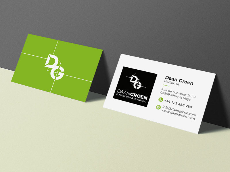 Daan Groen logo en visitekaartje ontwerp door Bottle Post Media Costa Blanca