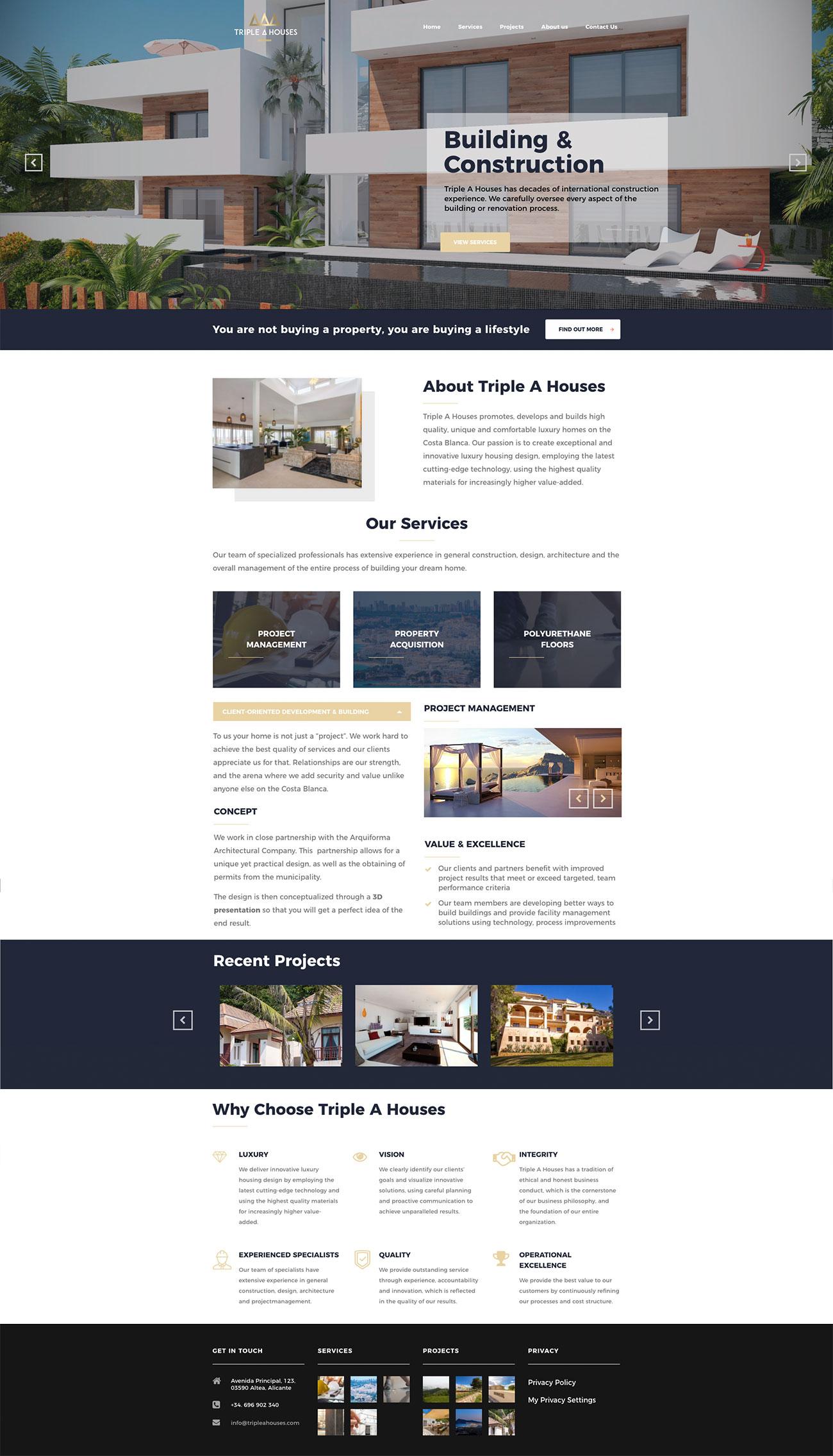 Webdesign Triple A Houses Huisstijl Costa Blanca